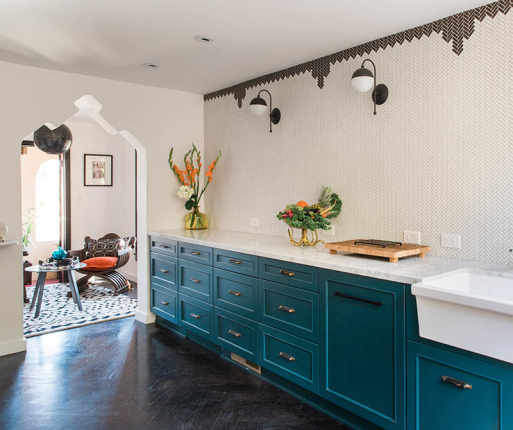 Color Ideas For The Kitchen: Dark Teal Cabinets