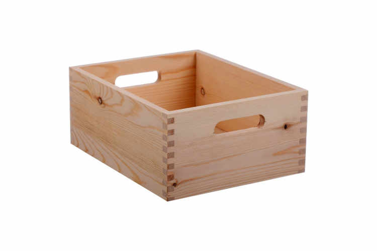 Hand Made Modern Small Wood Crate, Square – 5″ x 12″ x 9″