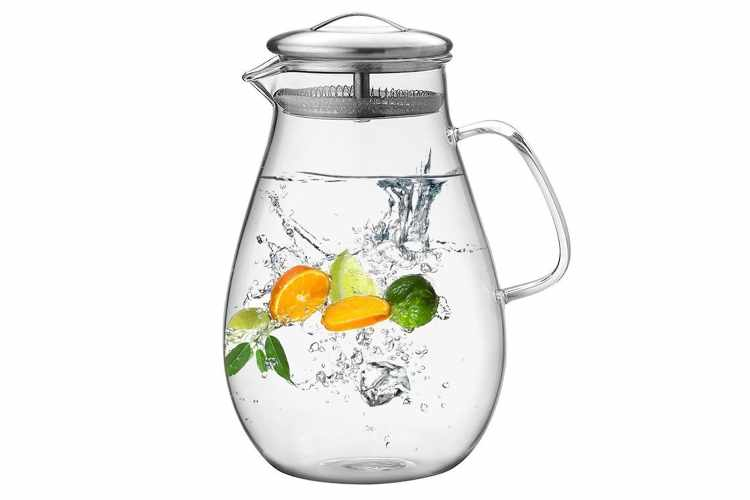 64 Ounces Glass Pitcher with Stainless Steel Lid