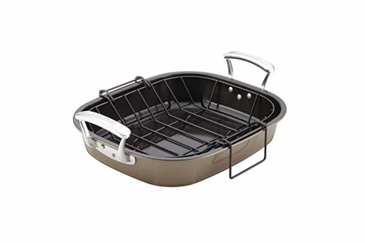 Anolon Bakeware 16- x 13-1/2-Inch Roaster with Hanging U-Rack