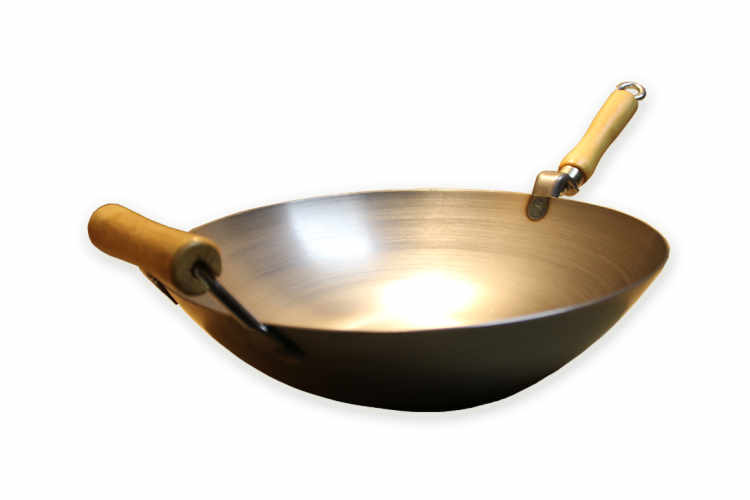 Carbon Steel Wok With Wood Side Handle
