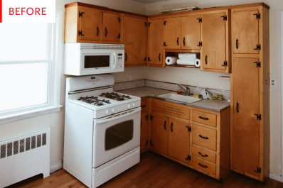painting kitchen cabinets budget remodel before after apartment therapy - Old Kitchen