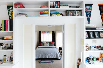 space saver swap out bookcases for built in shelving apartment therapy - Bookshelves Wall Mounted