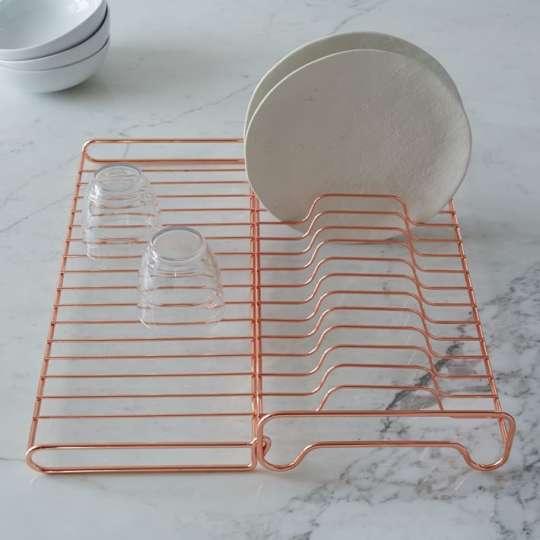 Copper Wire Foldable Dish Rack