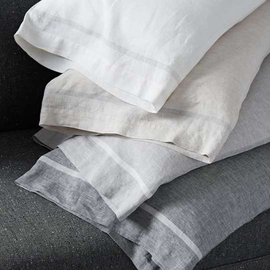 Belgian Flax Linen Border Stripe Sheet Set