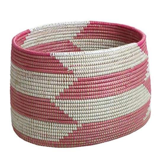 Charming Floor Bin in Pink Herringbone