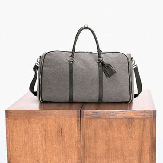 The Charcoal Canvas Weekender Garment Bag at Combat Gent