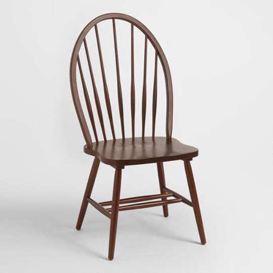 World Market Mahogany Leyla Round Back Windsor Chairs, Set of Two