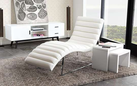 Diamond Sofa Chaise Lounge in White