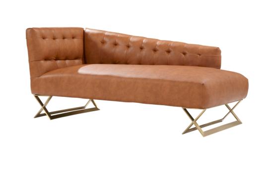 Armen Living Jasper Modern Chaise in Gold Matte Finish with Chestnut Leatherette