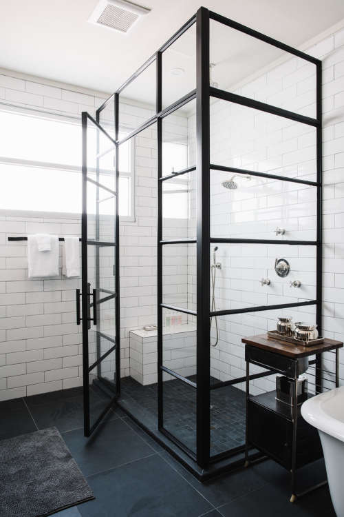 Bathroom Shower Doors Black Steel Frame Enclosures Apartment Therapy