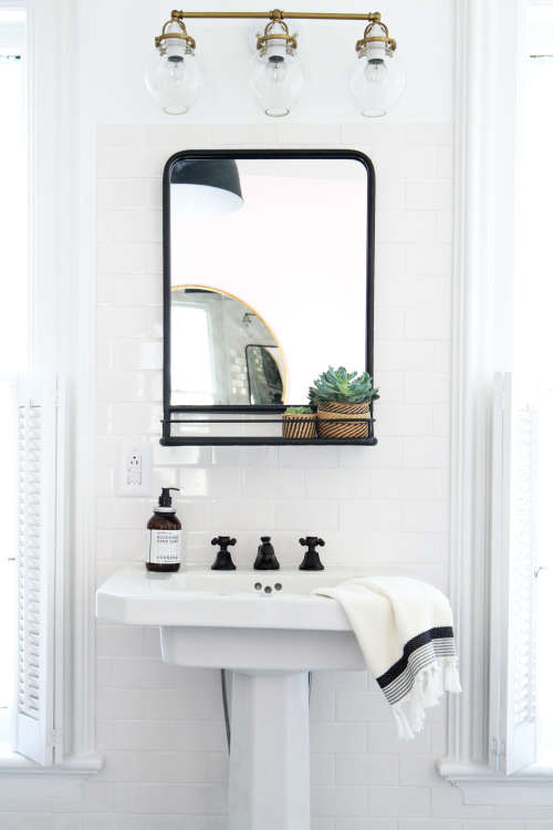 How to Hang a Bathroom Mirror on Ceramic Tile | Apartment Therapy How To Hang A Bathroom Mirror on hang a bed, hang a painting, hang a rug, hang a door, hang a towel, hang quilt, hang a star, hang a table, hang curtains, hang a flag, hang a garden, hang a bell, hang a chandelier, hooks to hang heavy mirror, hang a light, hang a shelf, hang a cabinet, hang a bookcase, hang a frame, hang mirror with wire,