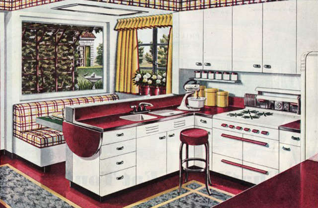 A 1945 Kitchen Featuring A Built In U0027Breakfast Boothu0027, From Mid Century  Home Style.