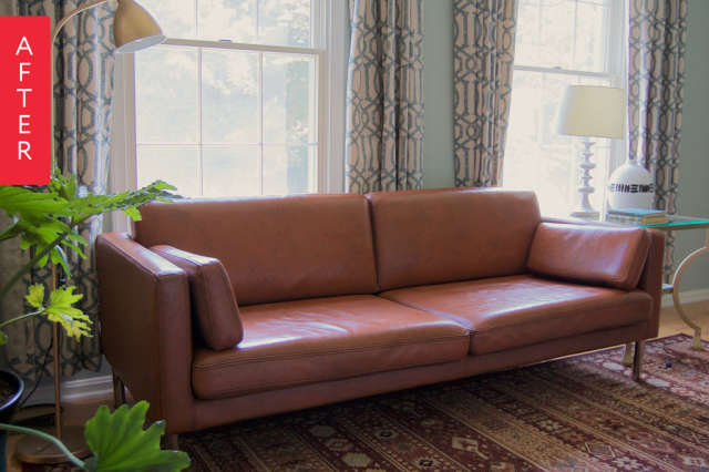 Before After Diy Painted Leather Sofa Project Apartment Therapy
