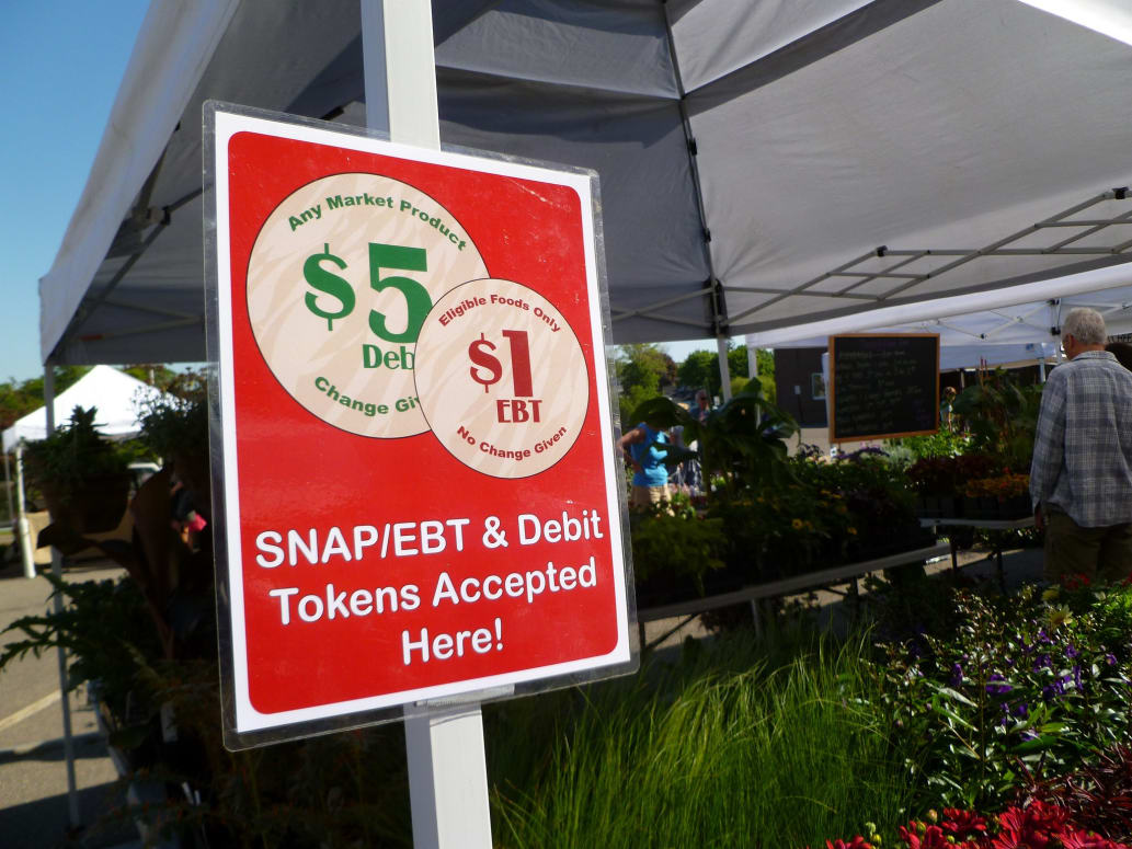 SNAP/EBT tokens sign at farmers market