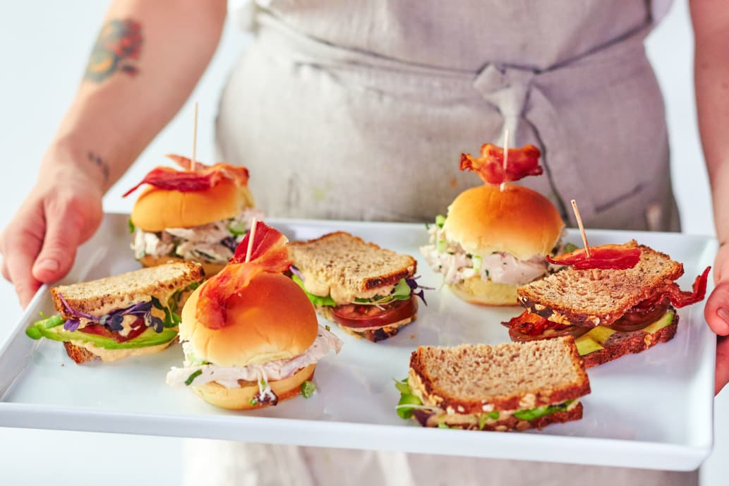 Tray with sandwiches