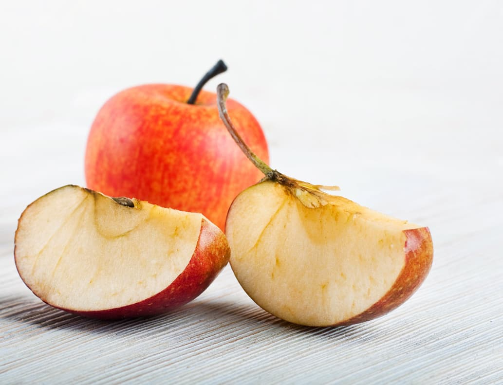 An apple that's getting brown