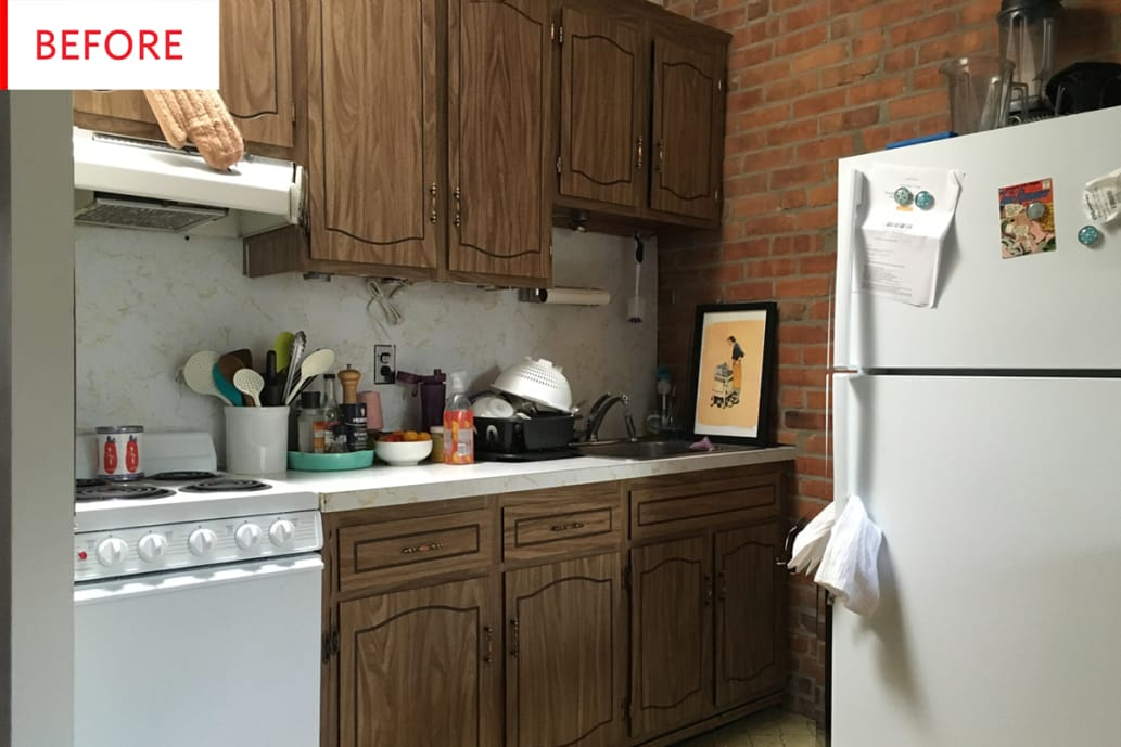 redo old kitchen cabinets before amp after an amazing 300 rental kitchen makeover 25204