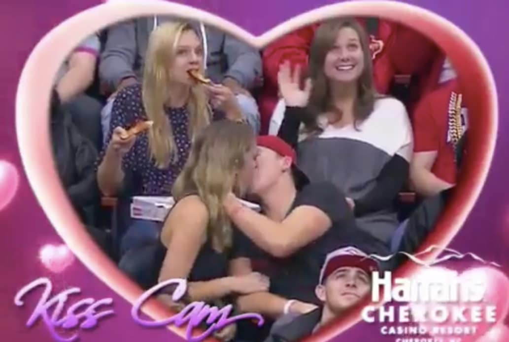 Kiss Cam Girl with Pizza