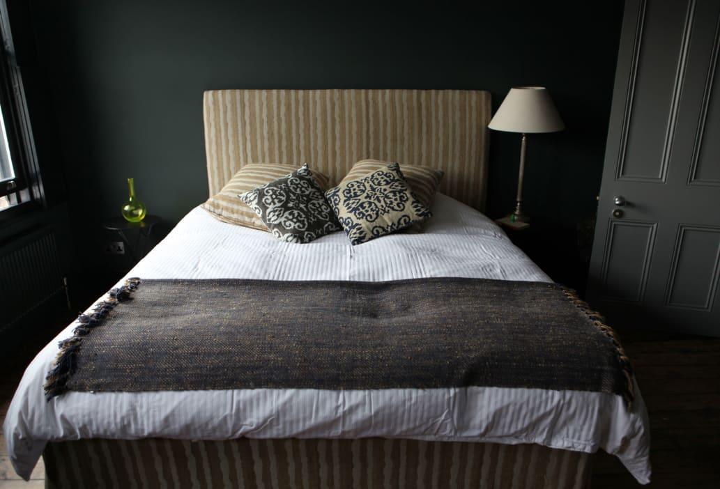 Dark Green Gray Bedroom with Upholstered Headboard