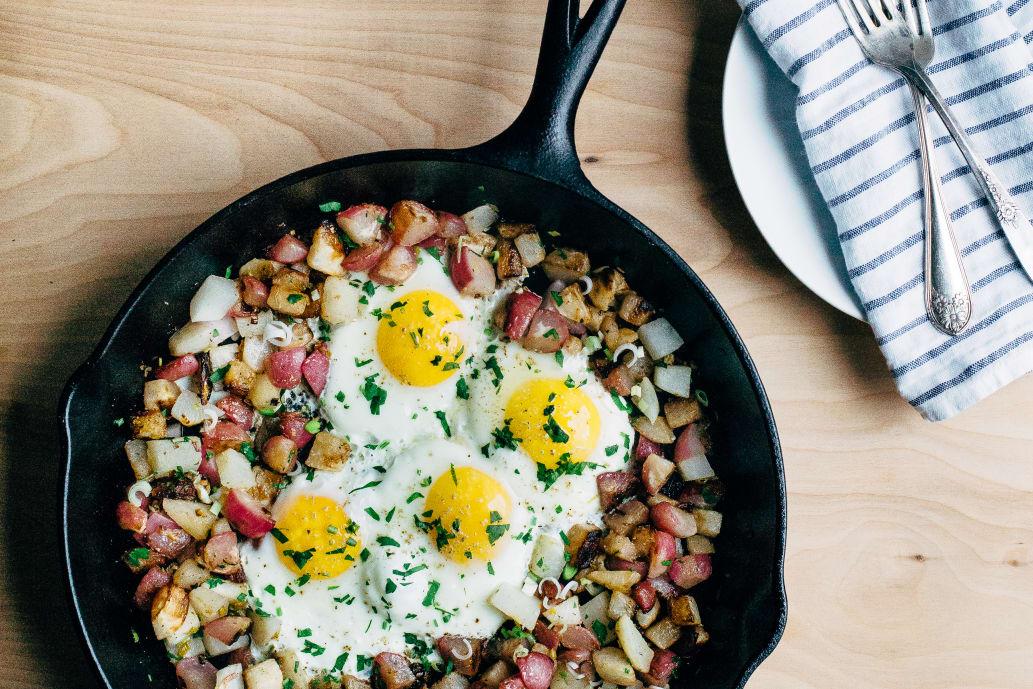 Radish and Turnip Hash with Green Garlic and Fried Eggs