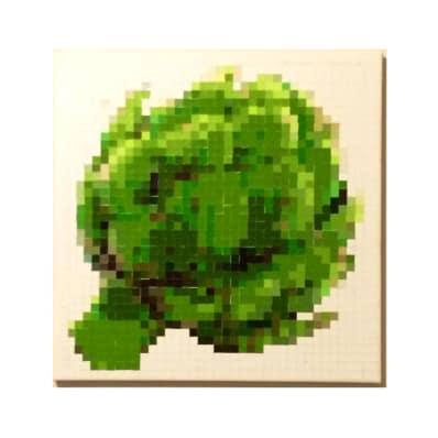 DIY pixelated artichoke paint chip art project
