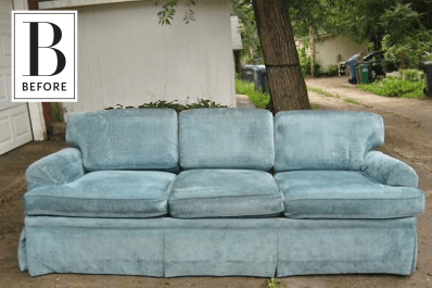 Before After Using Fabric Dye To Makeover A Chenille Sofa
