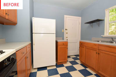 Painted Linoleum Tile Floor Kitchen Before After Photos Apartment - Apartment-therapy-kitchen