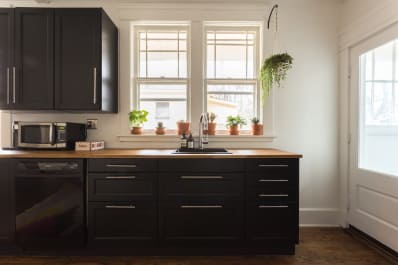 Black Kitchen Sink Pros, Cons | Apartment Therapy on breakfast counter ideas, furniture rehab ideas, kitchen layout tips, rehab home ideas, kitchen cabinet soffit, kitchen islands with breakfast bar, basement rehab ideas, arizona small bathroom ideas, kitchen layouts with exterior door,