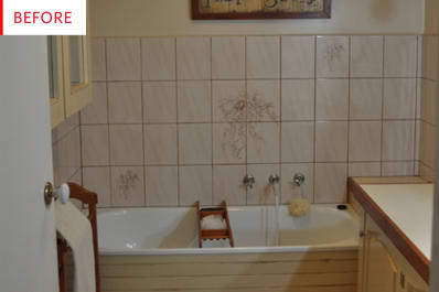 DIY Bathroom Remodel Tile Paint Before After Apartment Therapy - How to paint tile in bathroom