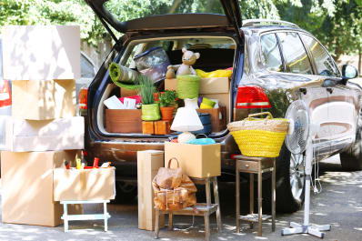 Truck of car packed with things for moving