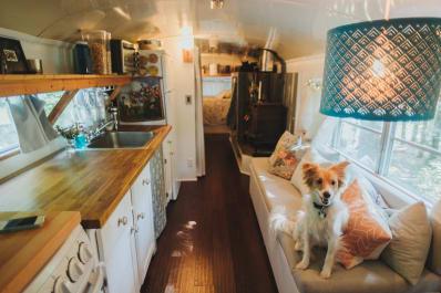 The small home of two people who converted a bus.