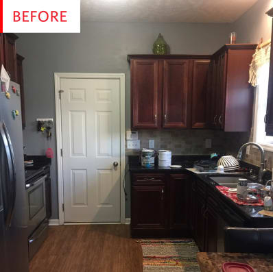 Colorful Kitchen Before And After Blue Painted Cabinets Apartment