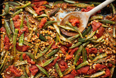 Recipe Sheet Pan Okra With Tomatoes Black Eyed Peas Kitchn