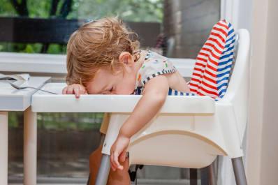 Kid falling asleep while eating