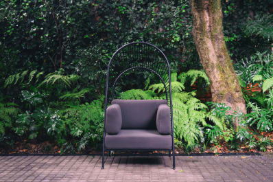 Arched pergola chair indoor outdoor photos apartment therapy