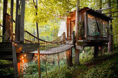 treehouse with string lights in the woods