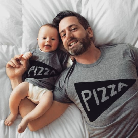 Matching Father & Baby Pizza Shirts from Xenotees