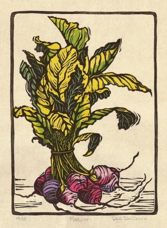 Bouquet of Radishes Woodblock Print by Deb de Cicco Prints