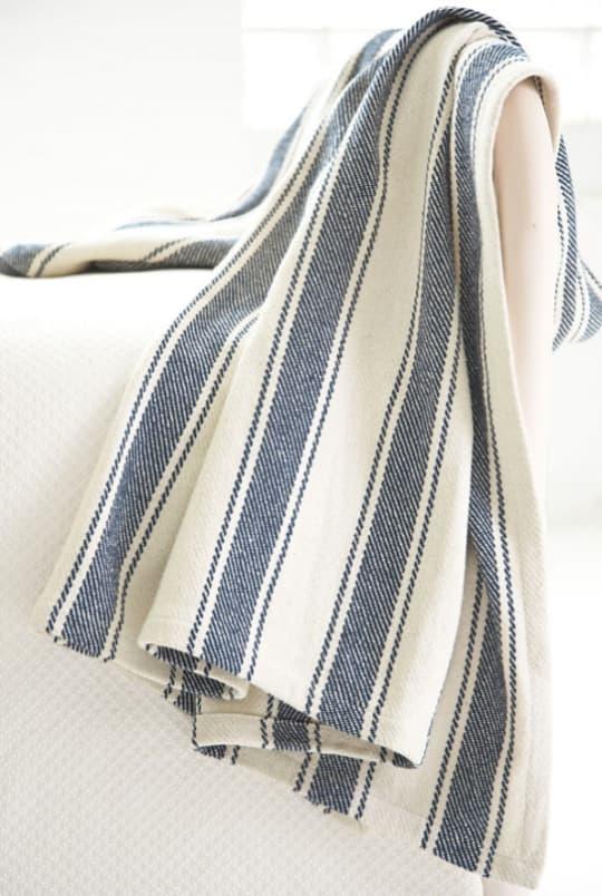 Blue Awning Stripe Woven Cotton Throw at Dash & Albert