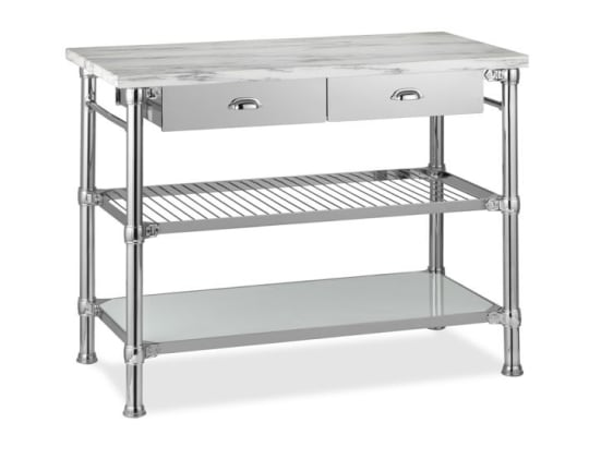 Modular Kitchen Island with Marble Top