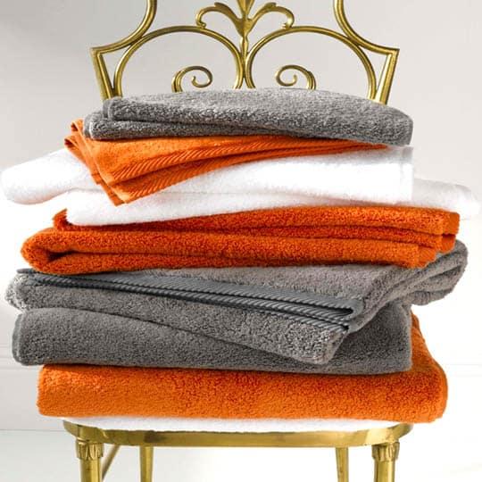 Matouk Milagro Towels in Saffron & Steel