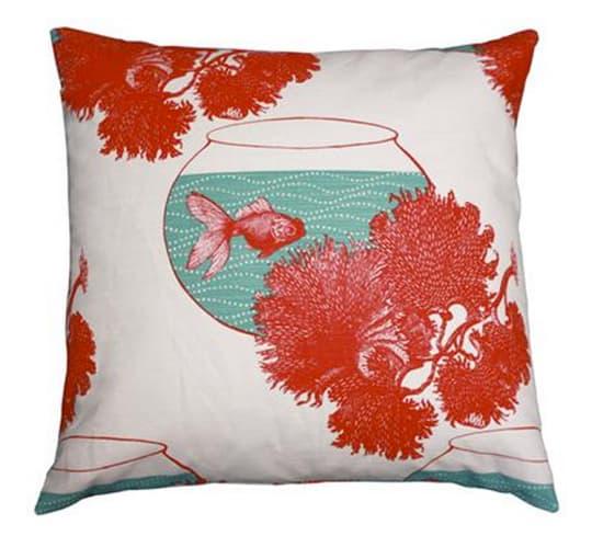 Coral and Goldfish Cushion