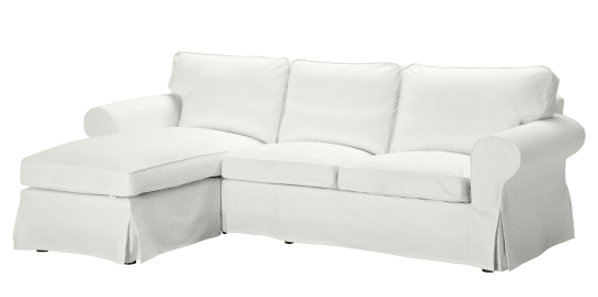 Ektorp loveseat and chaise in white