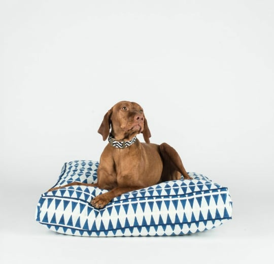 Blue and Mint Triangle Hand Block Dog Bed