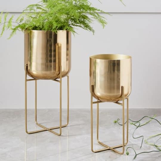 Spun Metal Standing Planter