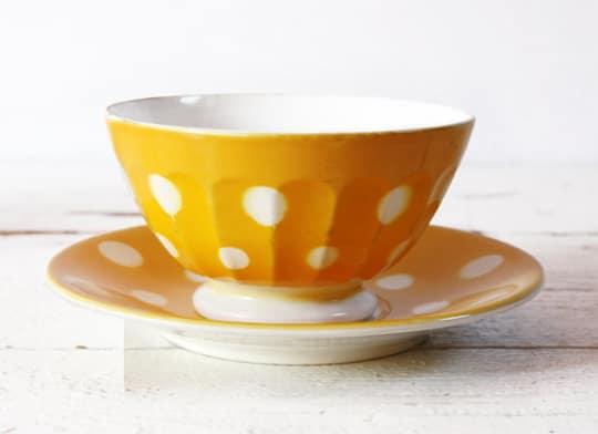 Vintage Digoin Sarreguemines Yellow Bowl & Plate