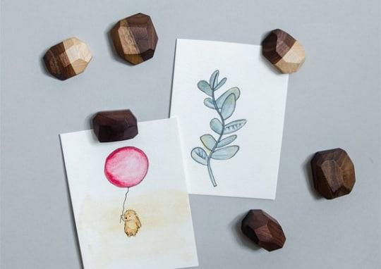 Geometric Wooden Fridge Magnets in Walnut or Maple from Butternut Brooklyn