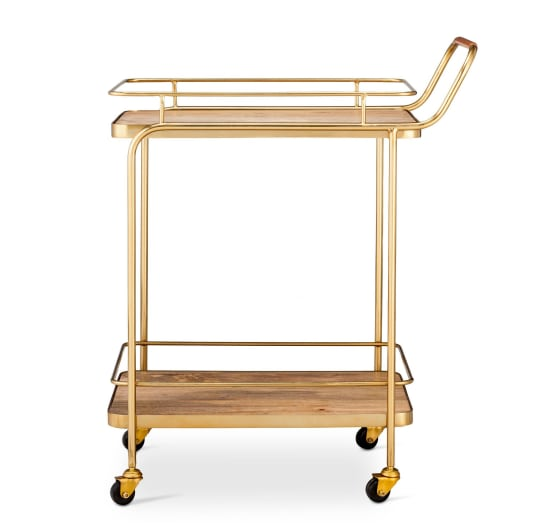 Metal, Wood, and Leather Bar Cart