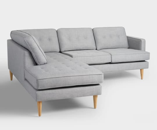 Dove Gray Woven Apel Sectional Sofa With Chaise